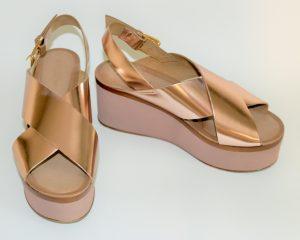 sandali-dorati, zeppe, oro-rosa