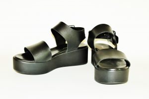 sandali, milla, fascia-nera, platform