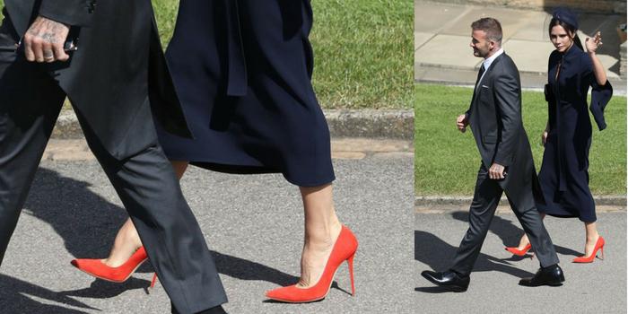 Le scarpe rosse di Victoria Beckham al Royal Wedding